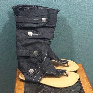 Forever Flip Flops Calf High Jean Material Buttons